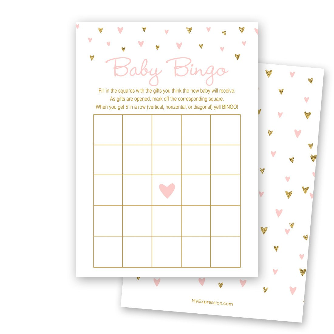 MyExpression.com 24 Cnt Gold Glitter Graphic Hearts Baby Bingo Cards by MyExpression.com