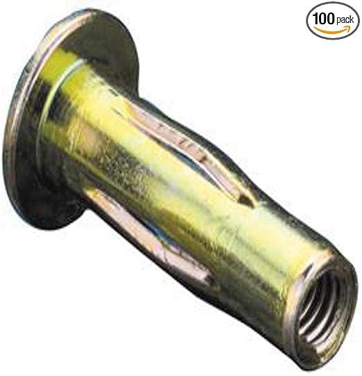CPB2-610-7.1 Steel 0.51-7.11mm GR LG FLNG HD Slotted Body Insert Pre-Bulbed Body Zinc YLW 100 PK M6x1