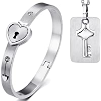 JewelryWe sieraden 2-delig roestvrij staal hart vergrendeling armband & sleutel hondenmerk hanger halsketting set