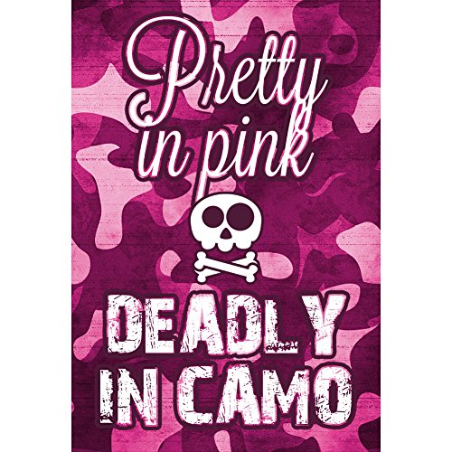 Pretty In Pink Deadly In Camo Print Pink Camoflauge Skull And Bones Picture Hunting - Bones Pink Skull