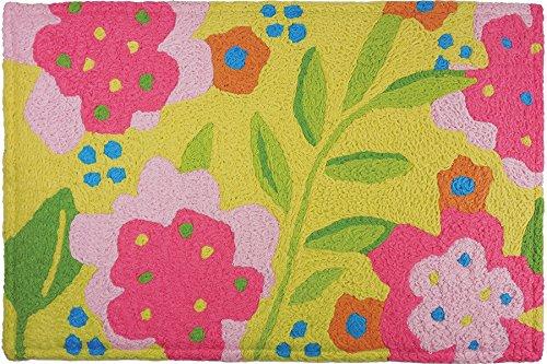 Jellybean FLowers on Yellow Memory Foam Rug