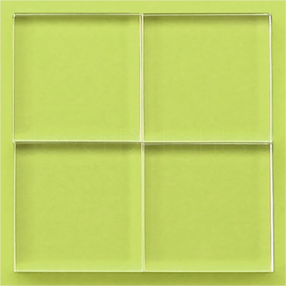 20 Pack - CleverDelights 50mm Square Glass Tiles - 2 Inch - Clear Solid Glass Tiles - 10mm Thick