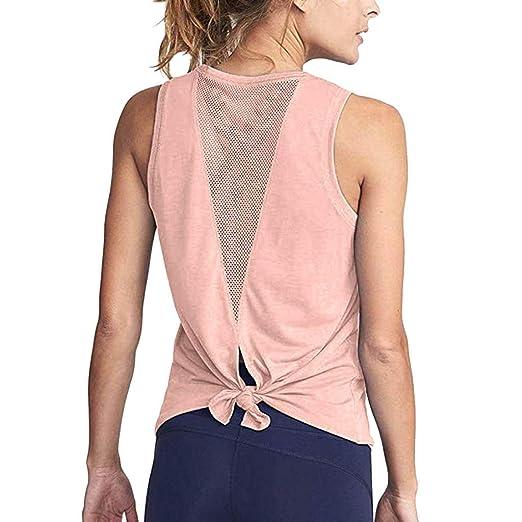 c345a279d1 Keliay Bargain Women Cute Yoga Workout Mesh Shirts Activewear Sexy Open  Back Sports Tank Tops Pink