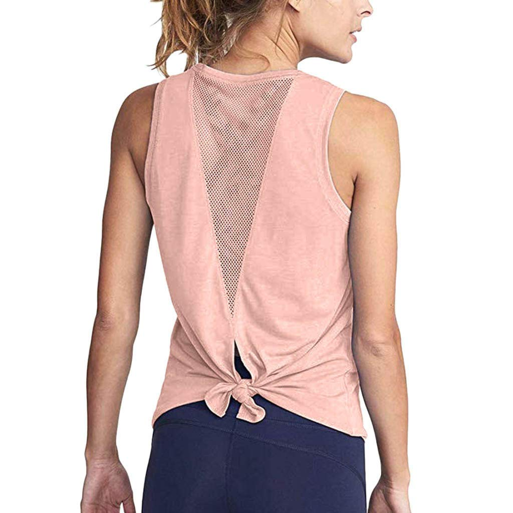 TWGONE Hollow Back Tank Top Women Cute Yoga Workout Activewear Sexy Sports Vest (X-Large,Pink)