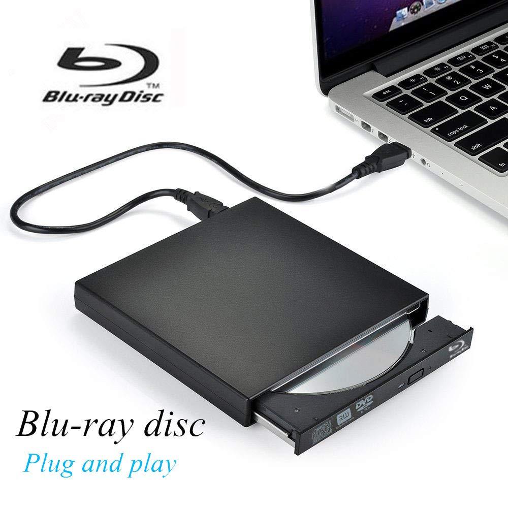 External Blu Ray DVD Player Drive,VikTck USB 2.0 Disc Burner Reader Slim BD CD DVD RW ROM Writer for PC Mac Windows 7 8 10 XP Linxus