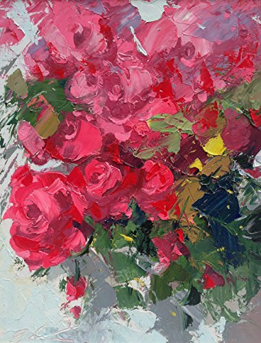Red Roses Canvas Art Prints from Original Oil Painting of Agostino Veroni Made in Italy Van Belle Nursery Christmas
