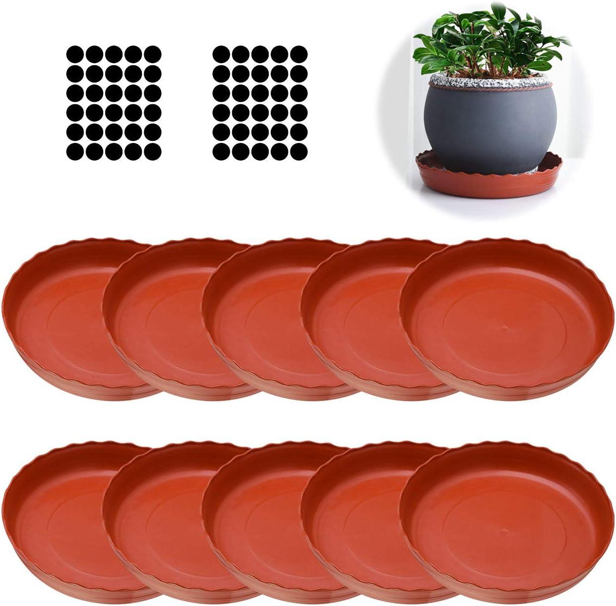 13x 3cm Cizen Soucoupes pour Pots de Fleurs 10pcs Rouge Brique Soucoupe Ronde Pot Soucoupe Plateaux avec 60pcs Coussinets Rehausseurs pour Pots de Fleurs