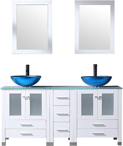 Walcut 60Inch White Bathroom Vanity Cabinet