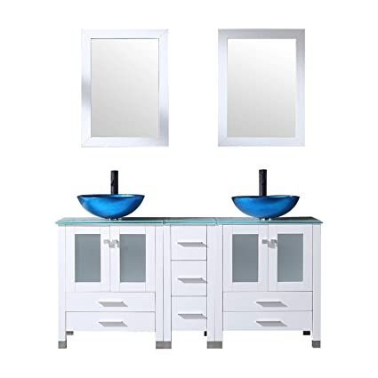 Walcut 60inch White Bathroom Vanity Cabinet With Double Artistic