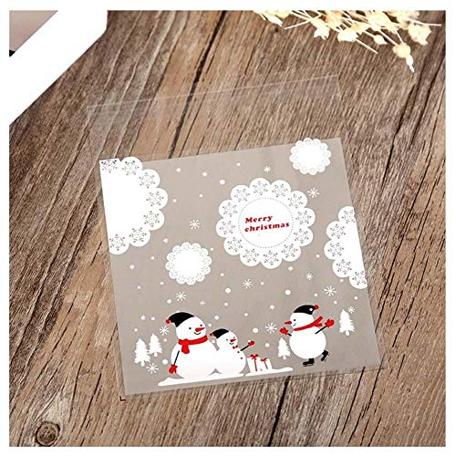 (RoseSummer 10Pcs Self-Adhesive Christmas Bag Santa Claus Snowman Cellophane Cookie Fudge Candy Gift Bag (C) )