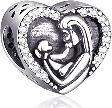 Mom and Child Charms Fit Pandora Charm Bracelets - 925 Sterling Silver  Heart Beads for Necklace and European Snake Chain. Kids in Mother's Arms -  ...