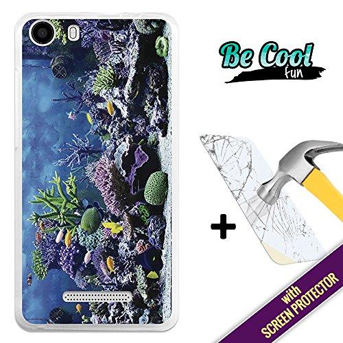 BeCool- Cover Gel Flexible Wiko Lenny 2, protects and adapts flawlessly to your Smartphone, together with our exclusive designs. Aquarium [ +1 Tempered Glass Screen Protector (Aquarium Tempered Glass)