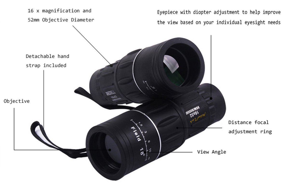 Amazon.com : miluo tech 16x52 dual focus monocular telescope