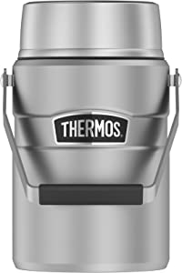 Thermos Stainless King 47 Ounce Vacuum Insulated Food Jar with 2 Inserts, Stainless Steel