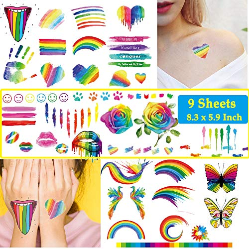 Ooopsi 140PCS Colorful Temporary Tattoos - Rainbow Lips Butterfly Rose Heart Tattoo Body Stickers - Rainbow Tattoo Stickers Party Summer Beach and Celebrations (9 Sheets)