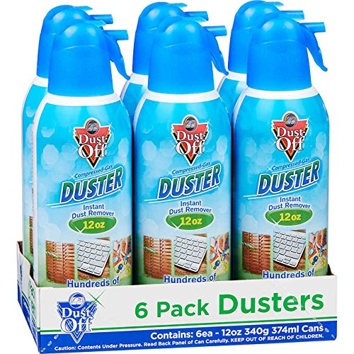 Falcon Dust-Off Professional Electronics Instant Dust Remover Compressed Air Duster - 6 Pack (12 oz.)