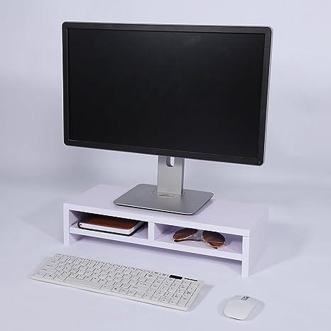 Lavoro da Casa LLD211WT SONGMICS Supporto per Monitor in bamb/ù Naturale per Scrivania con Vani Portaoggetti per Laptop PC TV