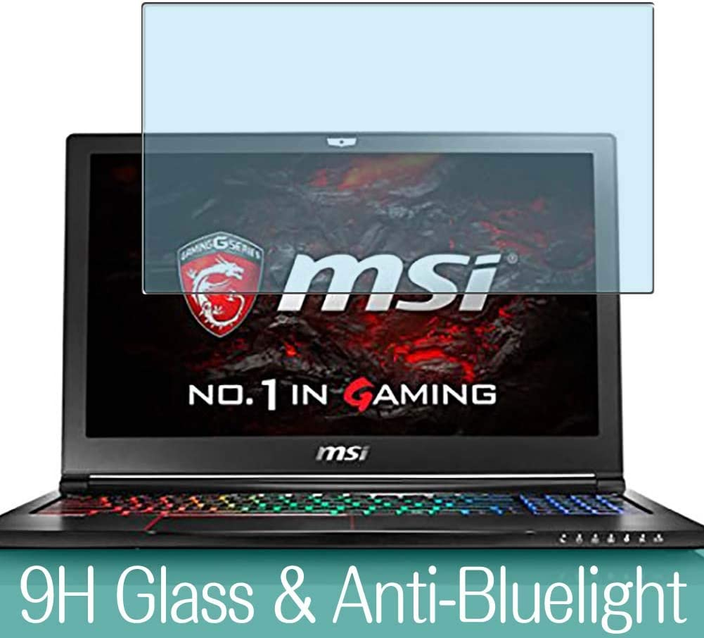 """Synvy Anti Blue Light Tempered Glass Screen Protector for MSI GS63VR 6RF Stealth PRO (004JP) 15.6"""" Visible Area 9H Protective Screen Film Protectors"""