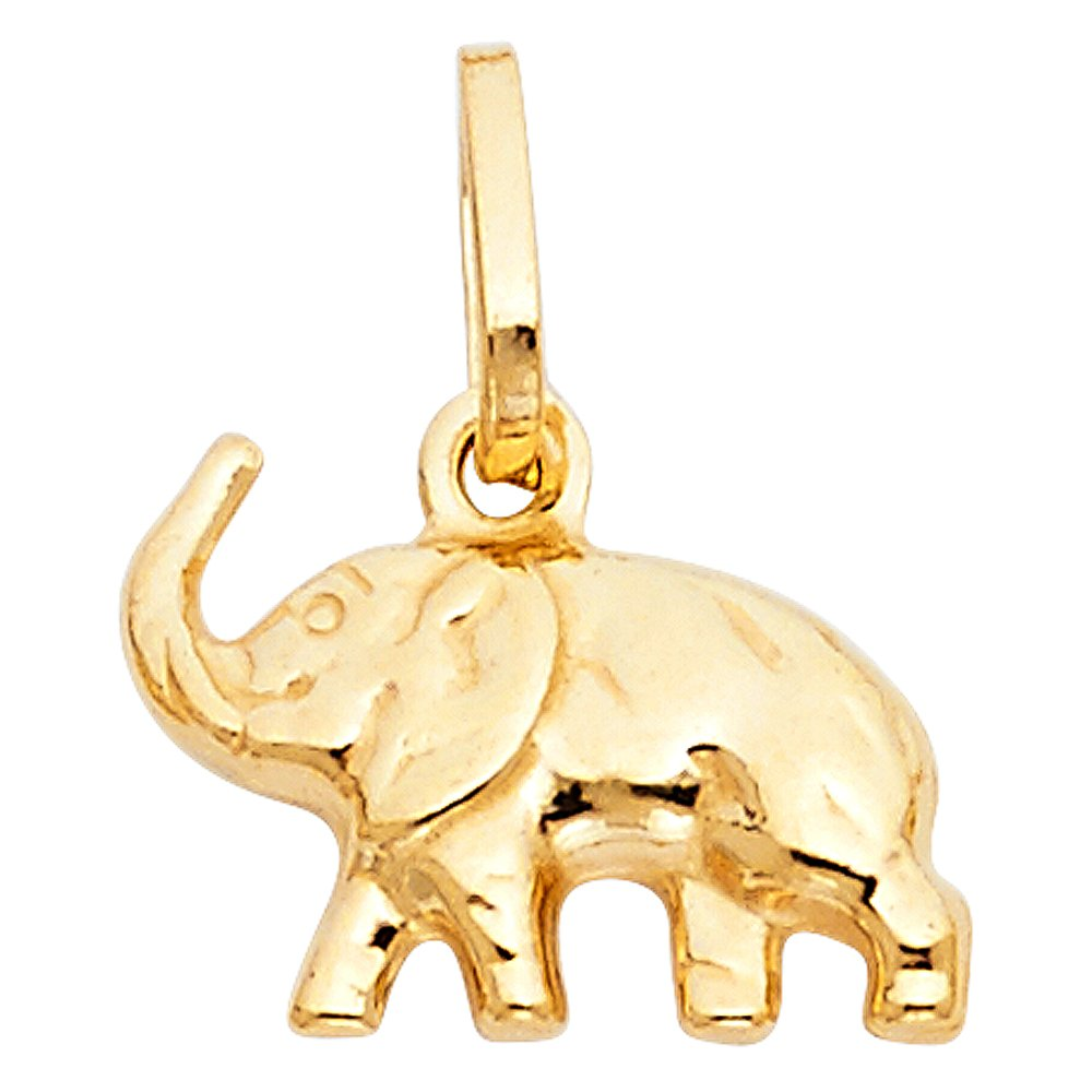 11mm x 15mm 14k Yellow Gold Animal Gold Hollow Elephant Small Puff Charm Pendant