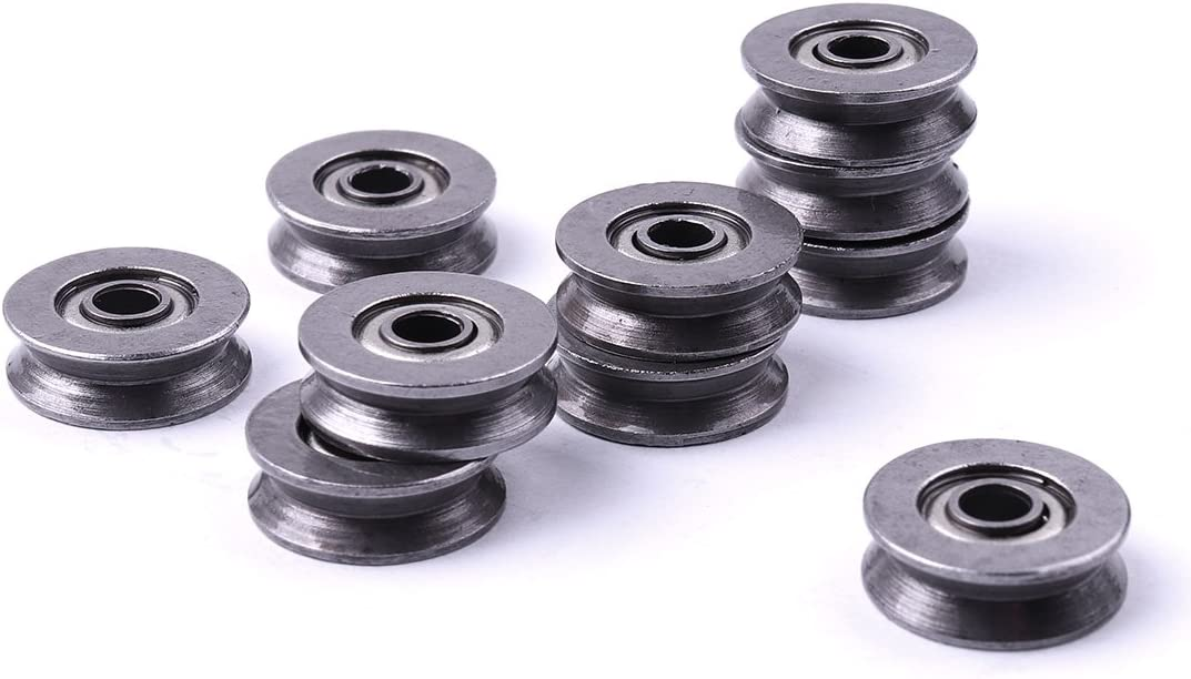 ATOPLEE 10 Pcs High Carbon Steel Wire V Groove Pulley 3x12x4mm