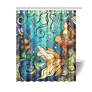 "Generic Funny Beautiful Mermaid Shower Curtain, 100% Polyester Waterproof 60"" x 72"""