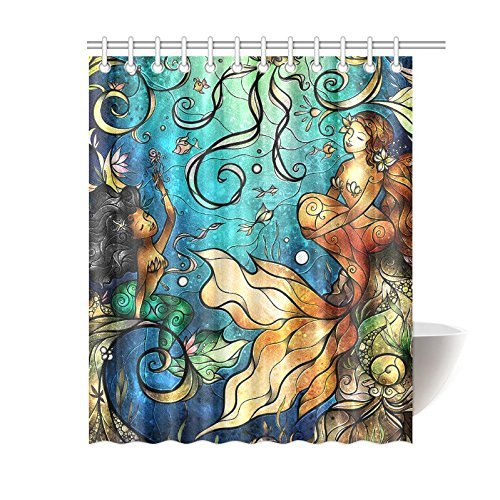 Personalized Funny Beautiful Mermaid Shower Curtain, Shower Rings Included 100% Polyester Waterproof 60