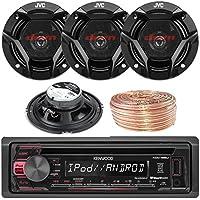 Kenwood KDC168U Car CD Player Receiver USB AUX Radio - Bundle Combo With 4x JVC CSDR620 6.5 Inch 300-Watt 2-Way Black Audio Coaxial Speakers + Enrock 50 Feet 18-Gauge Speaker Wire