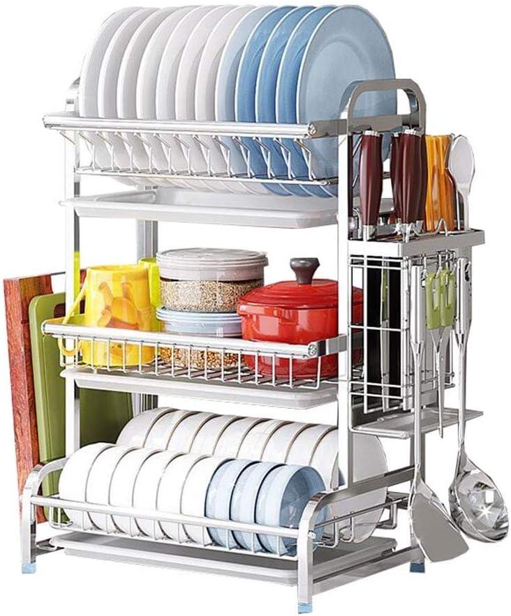 WJMLS 食器用乾燥ラック3段クロームメッキ用食器棚ステンレス製キッチン食器洗い機ラック付き道具入れなし/道具入れ/カッティングボードブラケット3層カトラリーラック