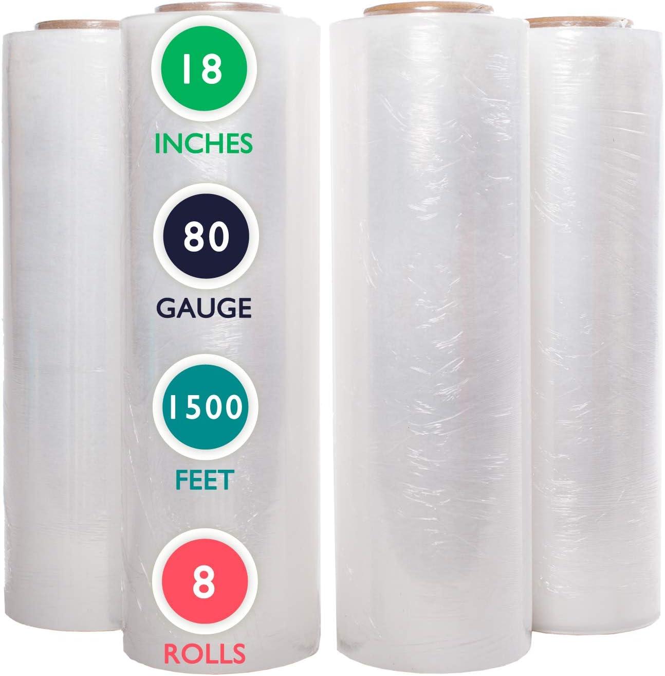 80 Gauge Plastic Cling Wrap 192 Rolls Stretch Wrap Film Black 18 Inch x 1500 Feet