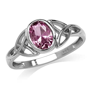 Silvershake Simulated Color Change Alexandrite White Gold Plated 925 Sterling Silver Triquetra Celtic Knot Ring Size 11.5