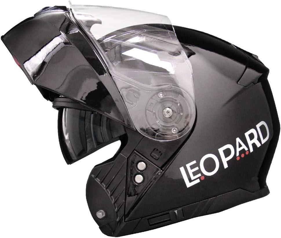 Leopard LEO-888 Casque Moto Modulable Double Visi/ère ECER Homologu/é Homme Femme 59-60cm Blanc//Gris//Noir L