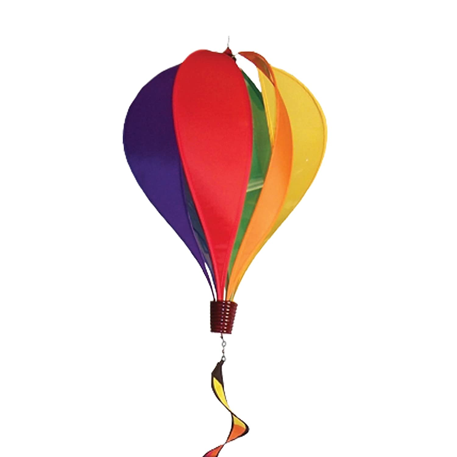 In the Breeze 6 Panel Rainbow Hot Air Balloon - Wind Spinner Includes Curlie Tail - Colorful Kinetic Hanging Decoration