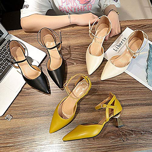 Summer Polyurethane ZHZNVX Women's Black Pump Shoes Toe Pointed Heel Almond Flared Almond PU Basic Yellow Heels nCC1wqpIR