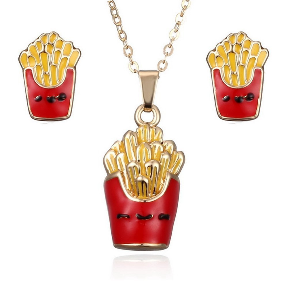 Fashion Jewelry Set Food French Fries Necklace Earrings - Wedding Party Jewelry Set
