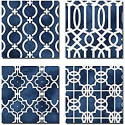 Blue and White Indigo Graphic Patterned Print Set; Four 12x12 Poster Prints