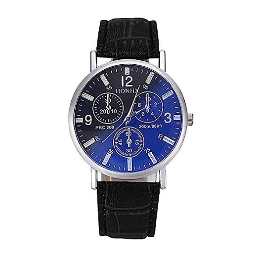 Amazon.com: Mens Quartz Watches learance Analog Mens Relojes Leather Wrist Watches for Men (Black): Electronics