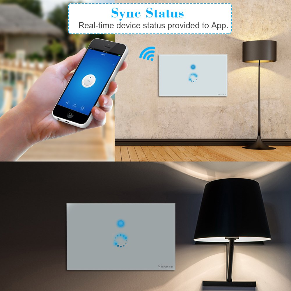 KKmoon SONOFF Touch Wifi Luxury Glass Panel Touch Screen LED Light US Wireless 1 Gang Timer Wall Touch Switch Phone APP Remote Control by KKmoon (Image #8)