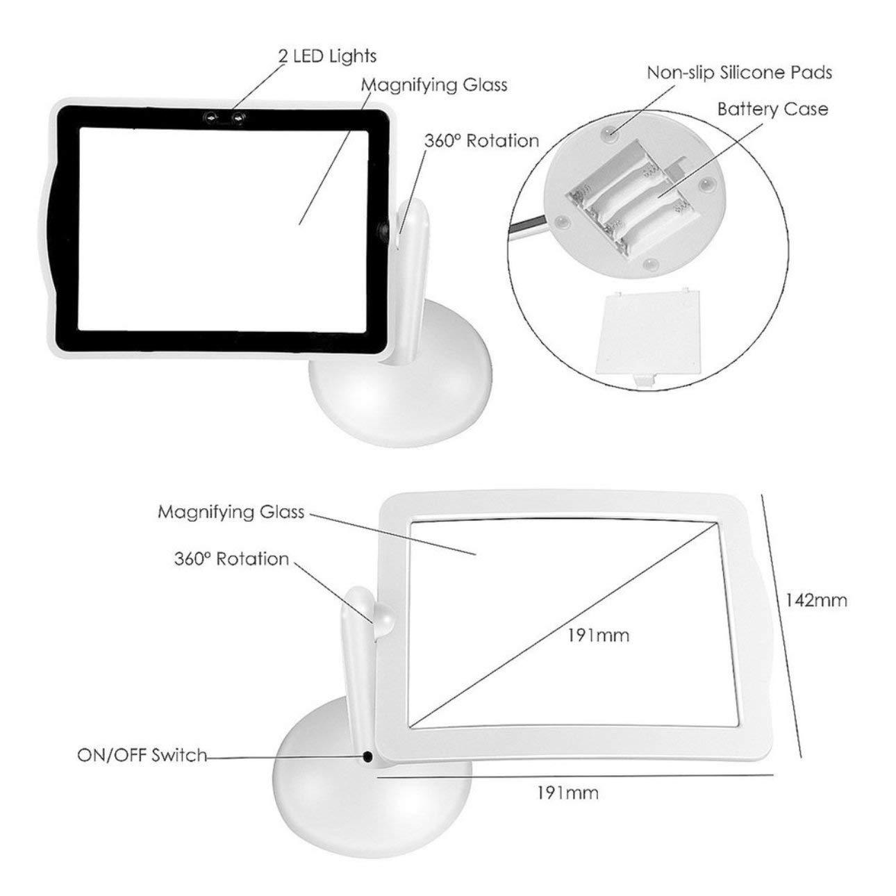 Lente dingrandimento a 3 LED con lente dingrandimento 3X per vivavoce a rotazione a 360 gradi bianco