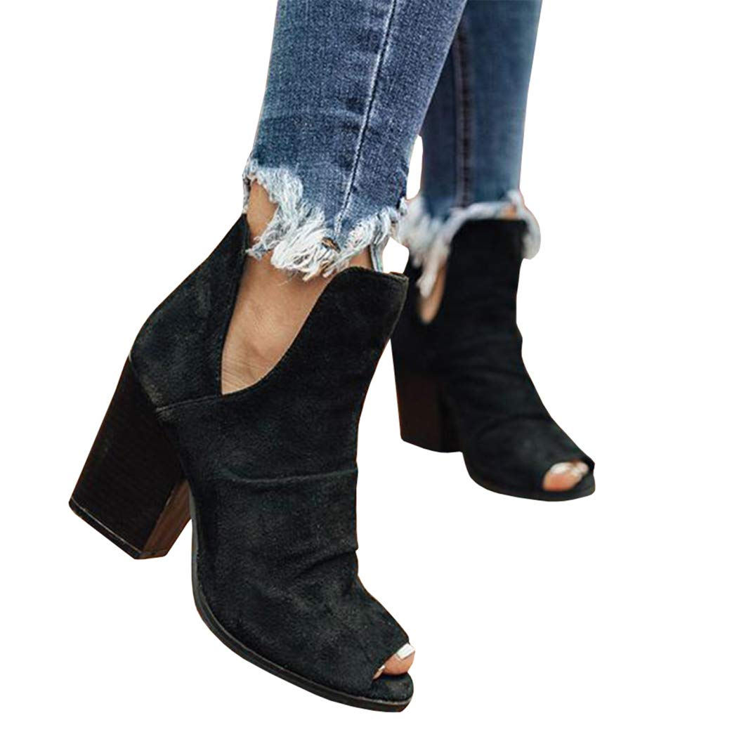 Syktkmx Womens Cutout Booties Open Toe Slip On Chunky High Block Heel Pumps Ankle Boots