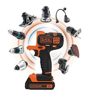BLACK+DECKER MT218KB-QW Perceuse visseuse Multievo - Outil multifonctions sans fil - Chargeur inclus - Un double embout de vissage - Livrée en coffret 850W, 18V, Orange/Noir, 2 Batteries