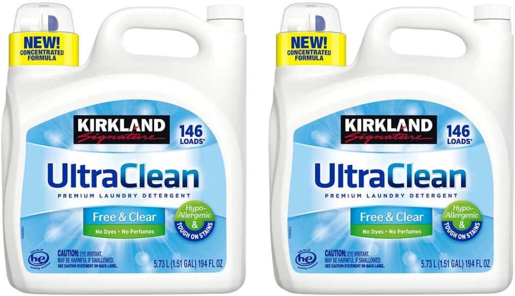 Kirkland Signature Ultra Clean Free & Clear HE Premium Hypo-Allergenic 146 Loads Liquid Laundry - 2 Pk (5.73L ea)