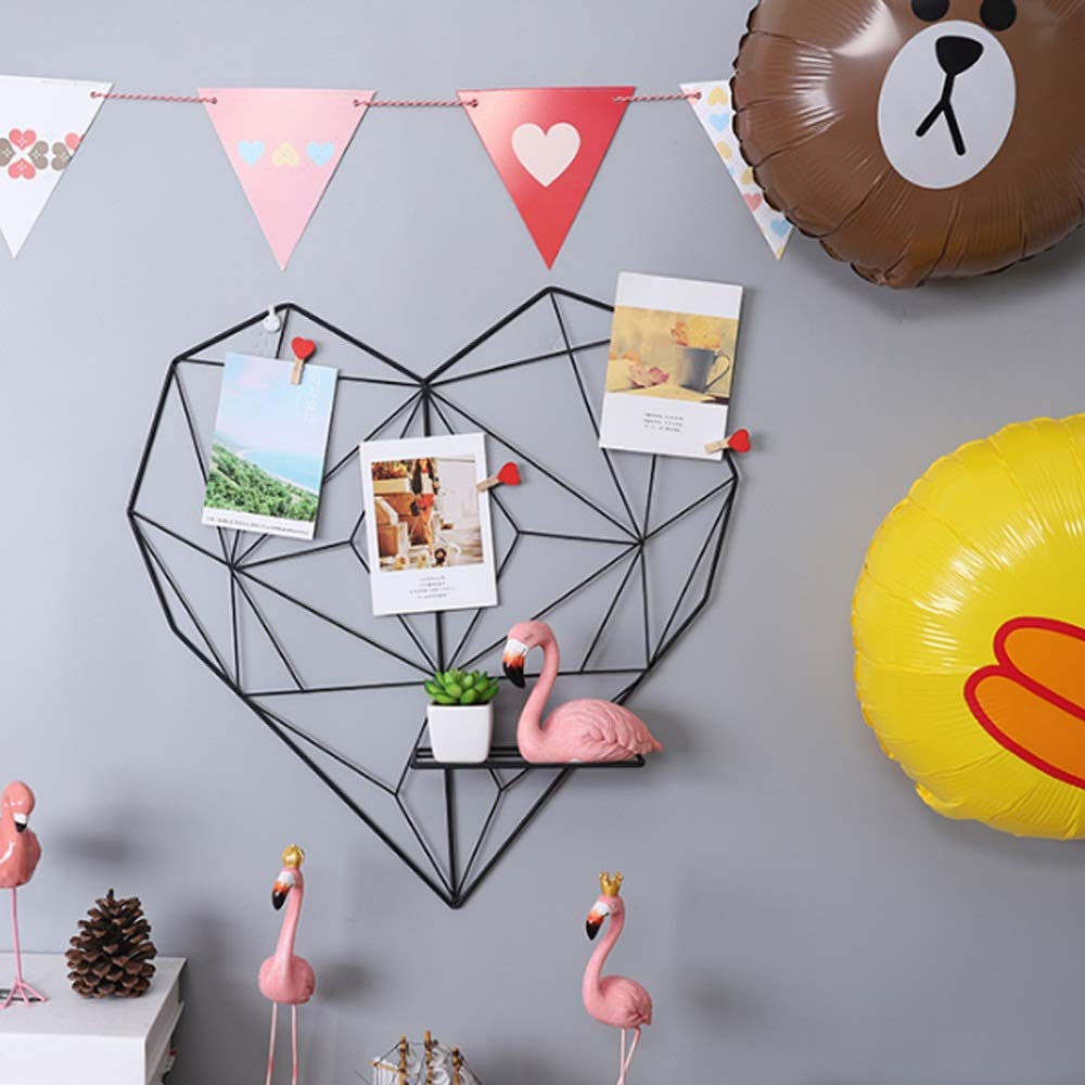 Uioy Pared Chica Amor en Forma de corazón Rejilla Foto Pared Uioy Dormitorio Dormitorio Pared (Color : Negro) 08a45d