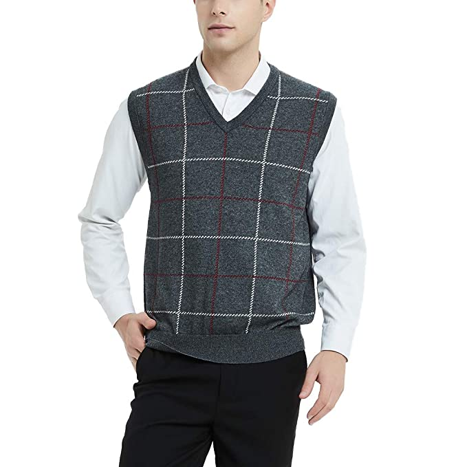 1950s Men's Clothing Kallspin Mens Plaid Sweater Vest Cashmere Blend Relaxed fit Knit V-Neck Pullover Knitwear $27.99 AT vintagedancer.com