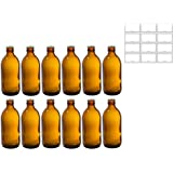 12 oz Home Brewing Dark Amber Glass Empty Refillable Beer Bottles with Pry Top Gold Crown Caps (12 PACK)