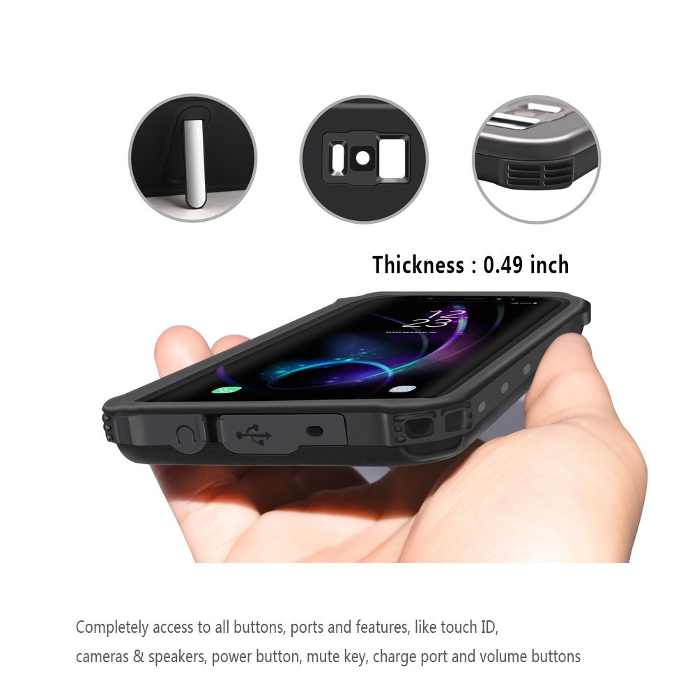 Galaxy S8 Waterproof Case, Besinpo Underwater 6.6ft 30 minutes Full Body cases, military grade protective cover with kickstand for Samsung Galaxy S8 Only(5.8inch,Black) by Besinpo (Image #4)