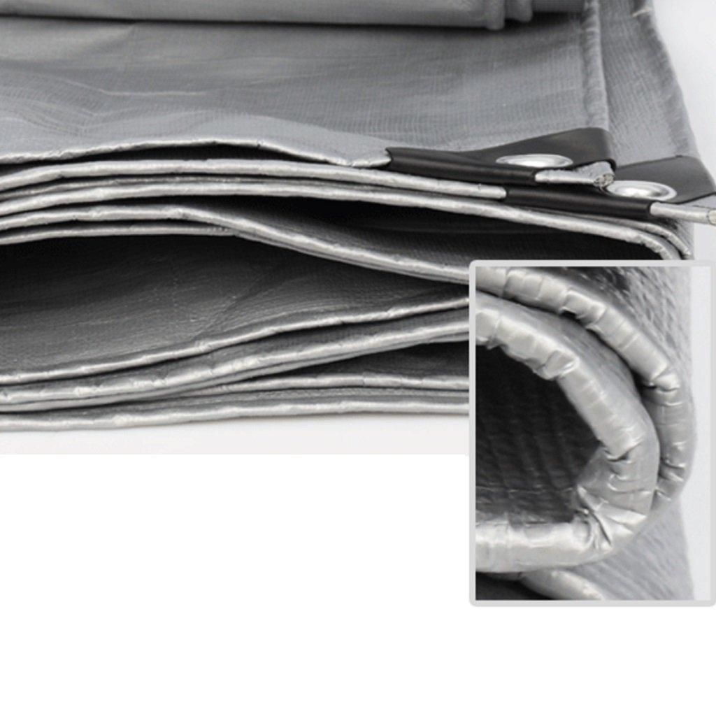 LIYFF-Lona alquitranada Paño Impermeable de Lona Impermeable Protector Solar Solar Solar Paño Protector de toldo Toldo en Poncho Familia Jardín de Acampar,Plata + Verde Militar, Impermeable al Aire Libre b9c9ca
