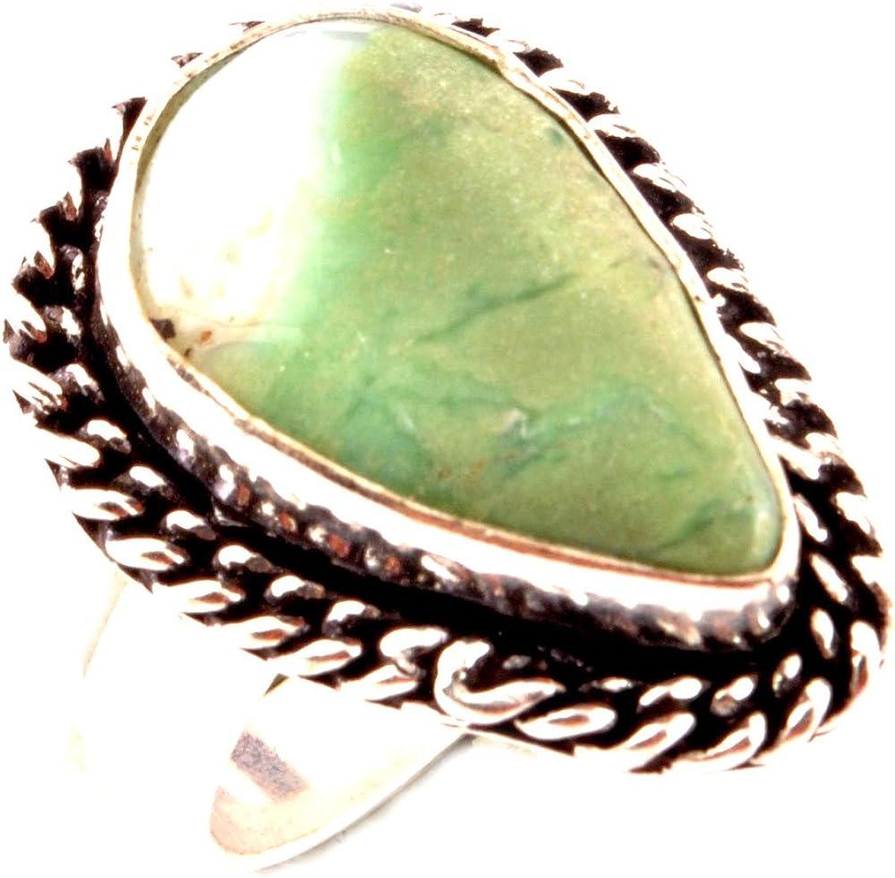 Los artesanos indie Anillo AMAZONITA Natural 925 Superposición de la piedra preciosa Tamaño del anillo del anillo de las mujeres del Reino Unido Tamaño N Anillo / UE 54