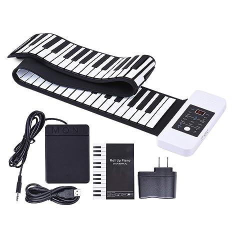 Ammoon portátil silicona 88 teclas mano Roll Up Piano electrónico USB Teclado Recargable de iones de