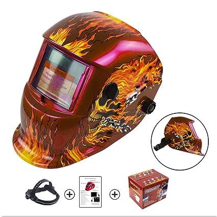 Casco soldador Diseño de calaveras Red Fire Casco de soldadura con energía solar Oscurecimiento automático Capucha