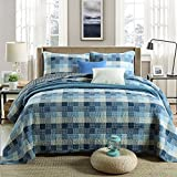 3-Piece Pure Cotton Quilt Set, Check Pattern Bedspread Set, Coverlet Bed-cover, Queen Size (Blue)